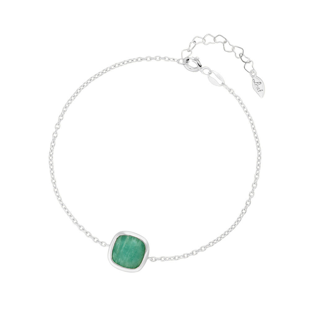 Armband Square, Amazonite, 925 Sterlingsilber, rhodiniert