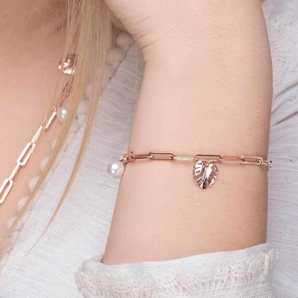 Armkette Monstera Leaf, 18 K Rosegold vergoldet