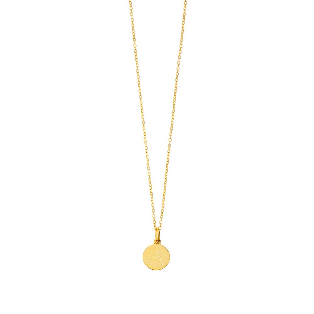 Kette gelbgold  Buchstaben Halskette, 18 K Gelbgold vergoldet - Leaf - Schmuck ...