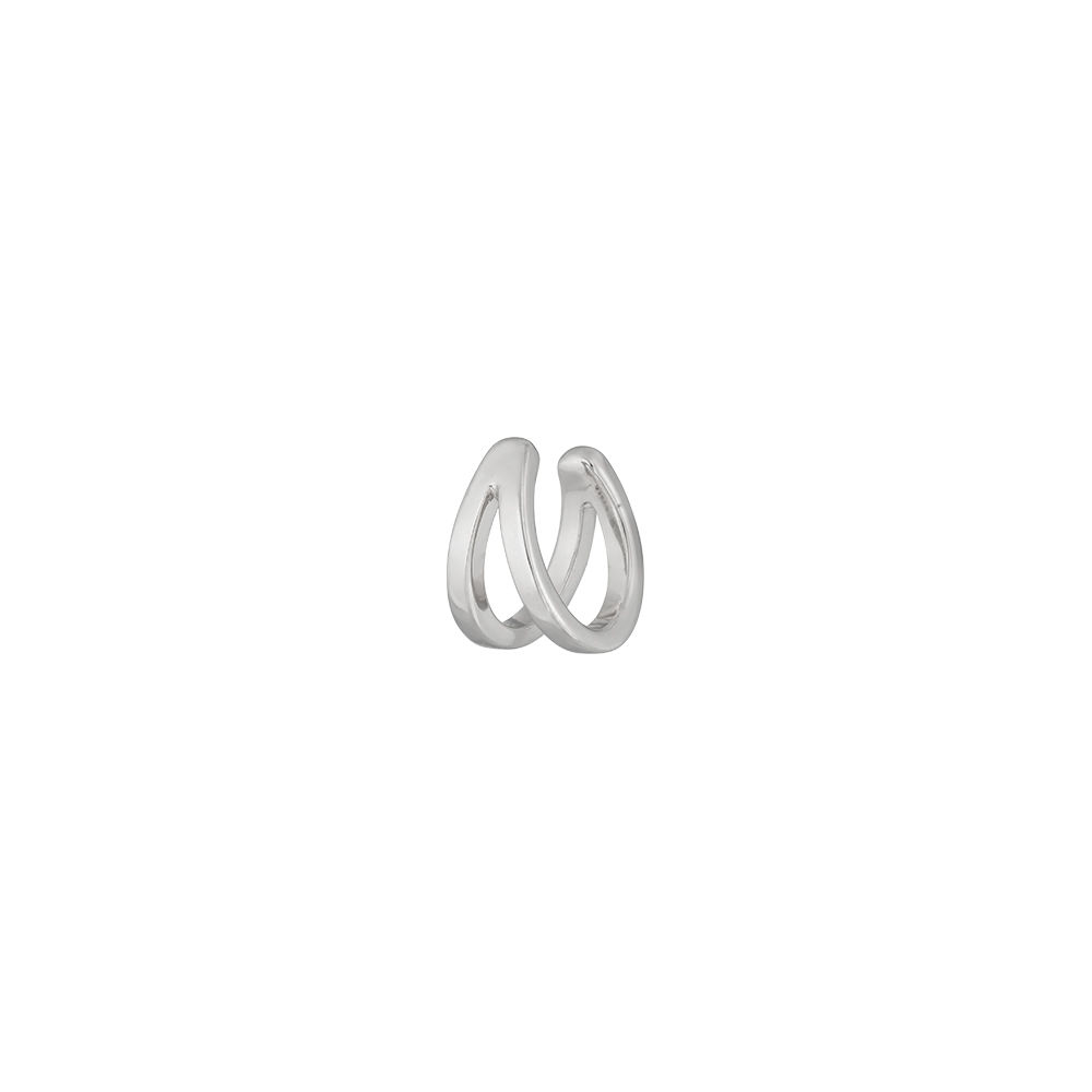 Earcuff Double Line, 10 mm, 925 Sterlingsilber, rhodiniert