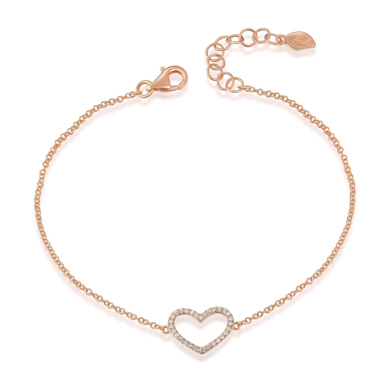 Armkette  Armkette Heart mit Diamanten, 18 K Roségold - Leaf - Schmuck ...