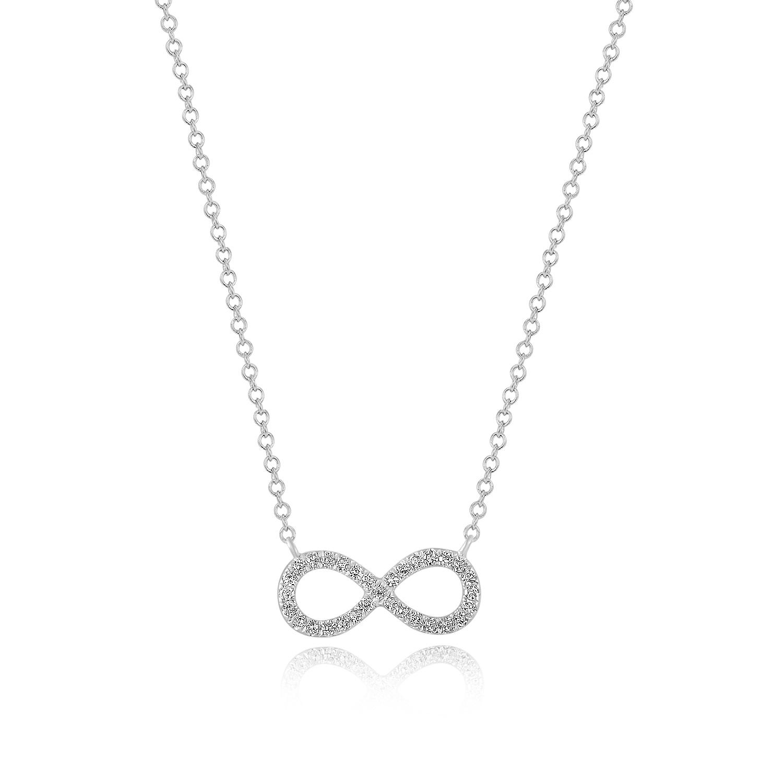 Halskette  Halskette Infinity mit Diamanten, 18 K Weissgold - Leaf - Schmuck ...
