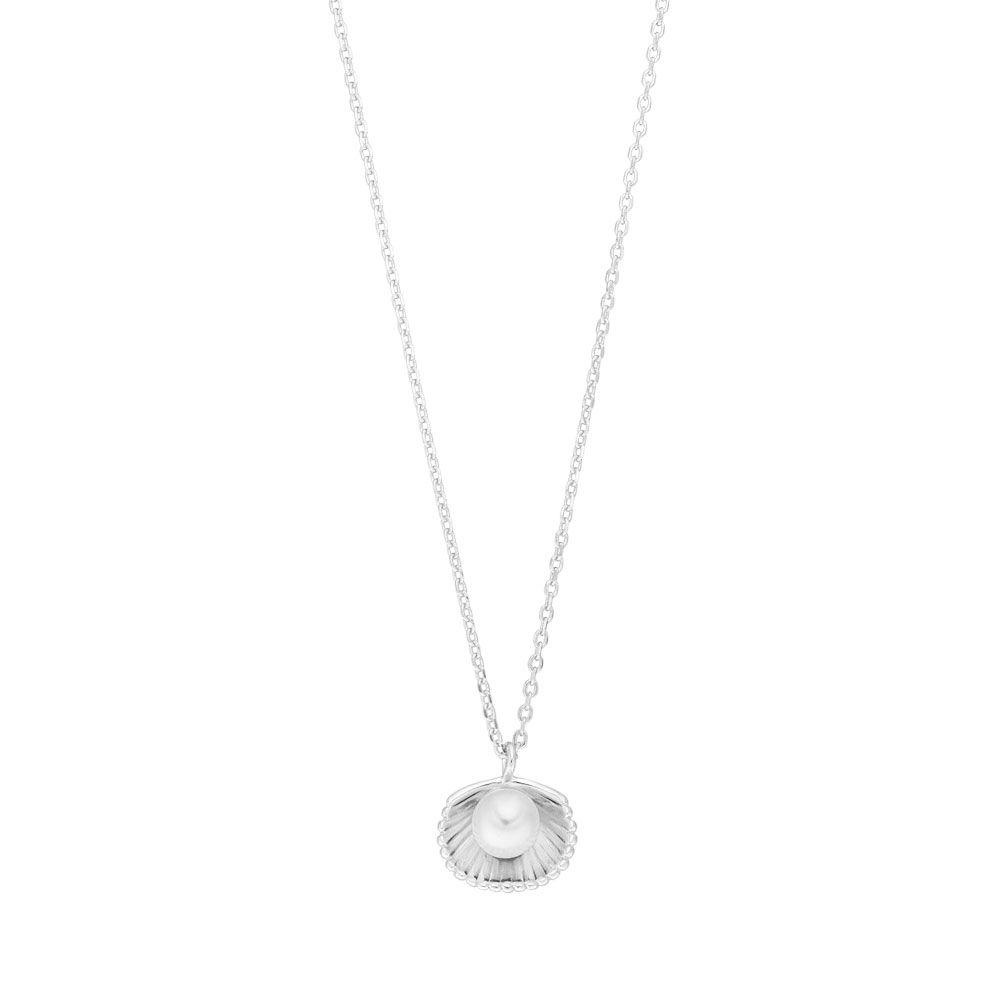 Halskette Muschel mit Perle, 925 Sterlingsilber