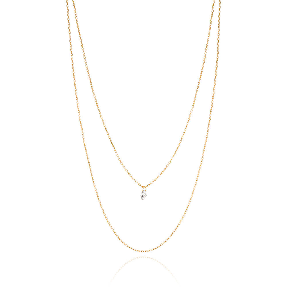 Halskette Pure Double Diamond,18K Gelbgold