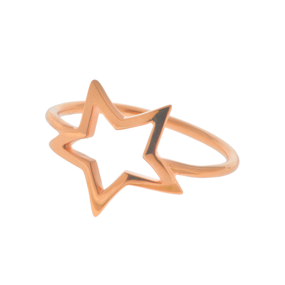 Leaf Ring ONE STAR, 18 K Rosegold vergoldet