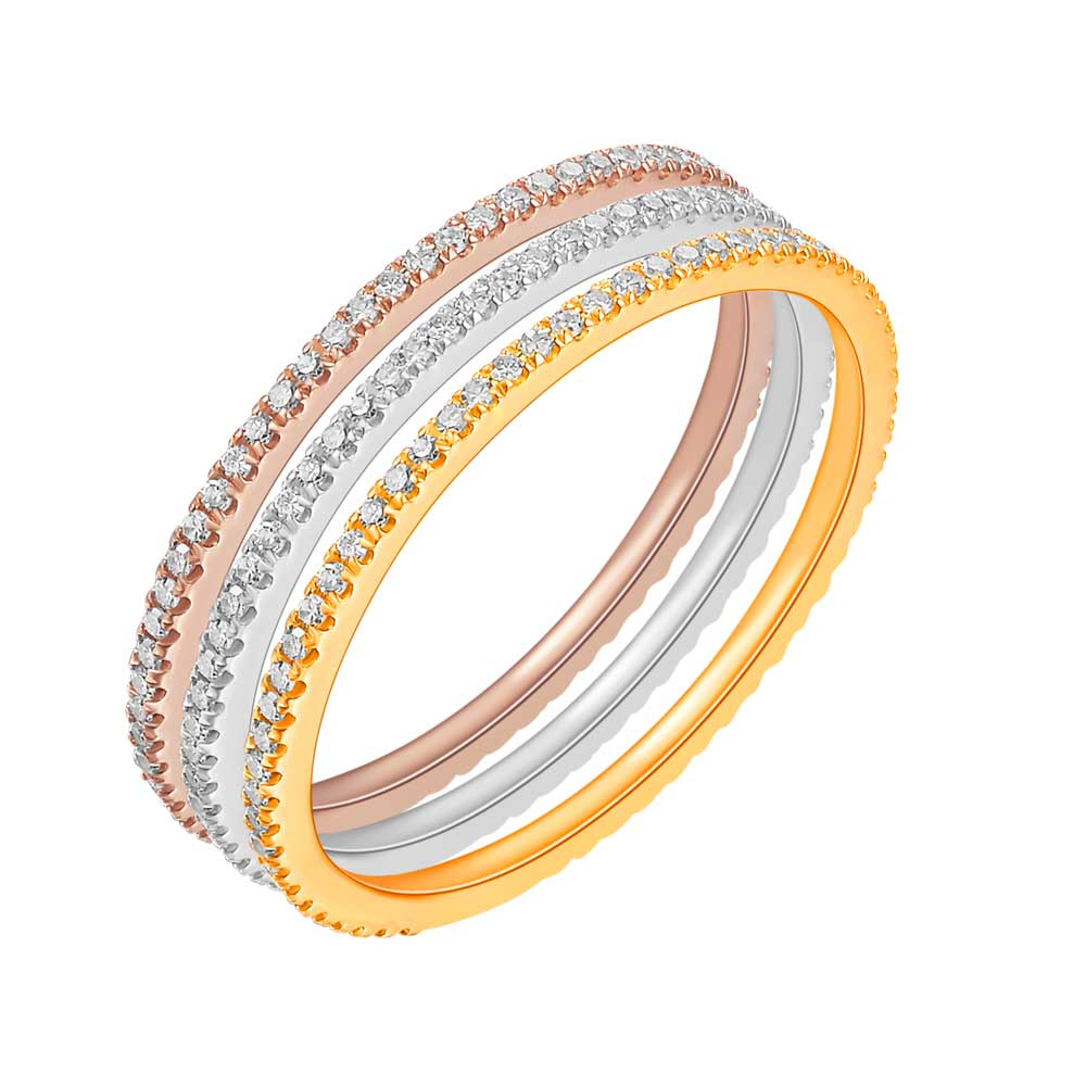 Memoryring mit Diamanten, 3er Set, 18 K Gold