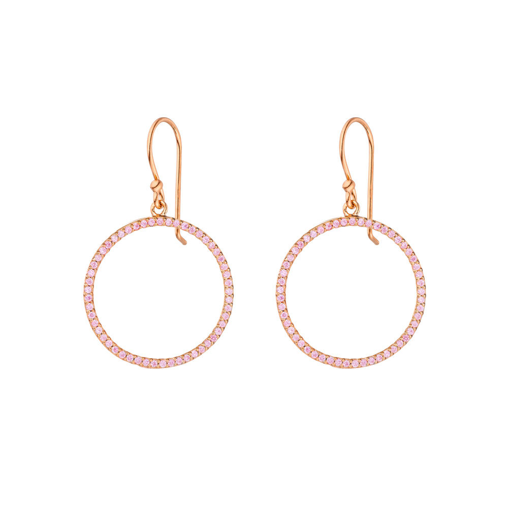 Ohrhänger Circle of Life, Single, 18 K Rosegold vergoldet - Rosa