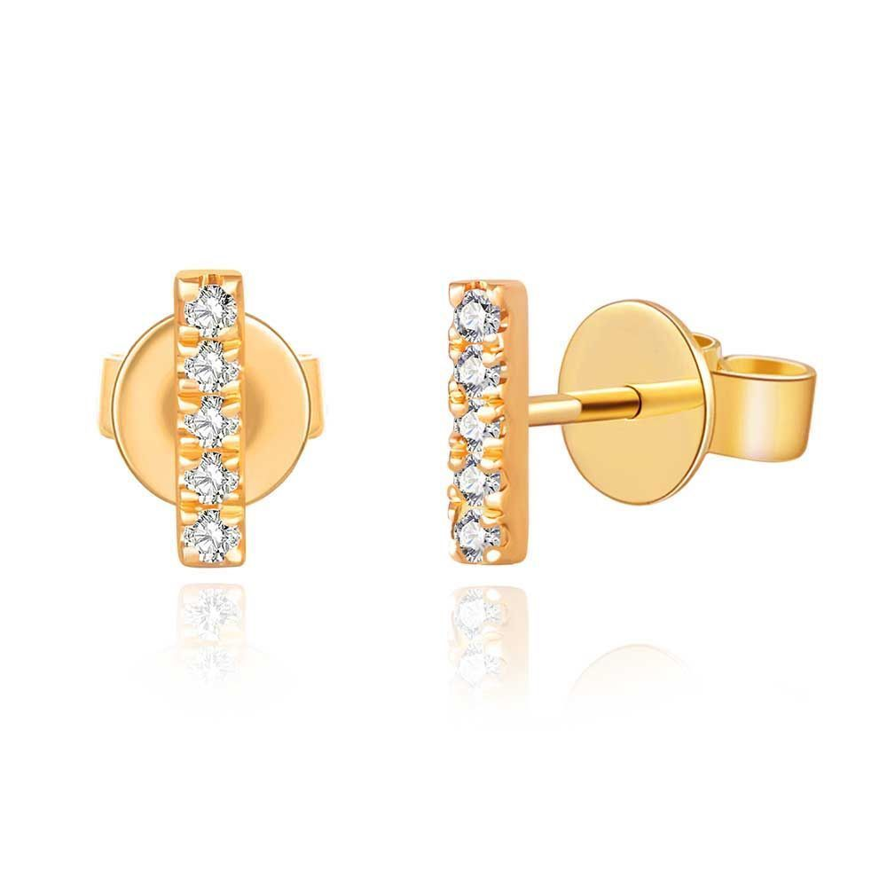 Ohrringe Bar mit Diamanten, 18 K Gelbgold