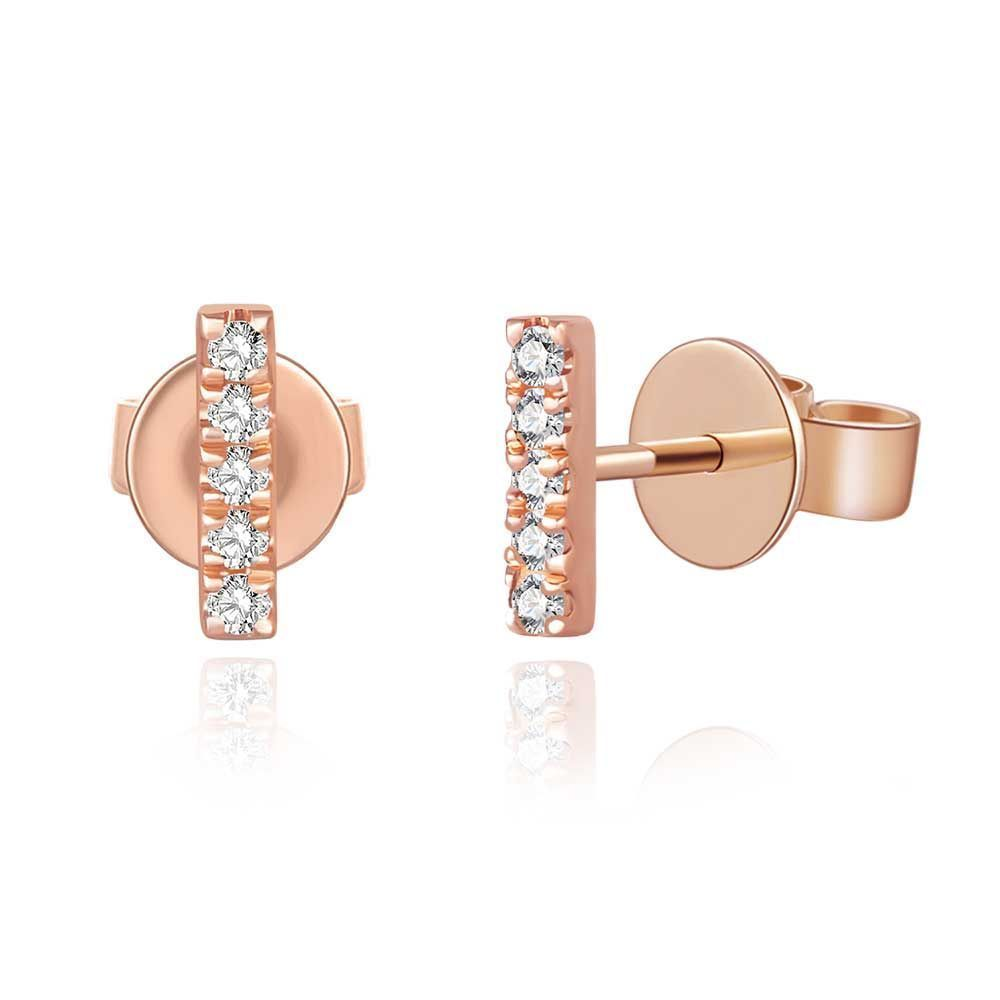 Ohrringe Bar mit Diamanten, 18 K Rosegold