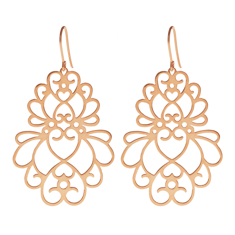 ohrringe heart flower gro 18 k rosegold vergoldet leaf jewelry. Black Bedroom Furniture Sets. Home Design Ideas