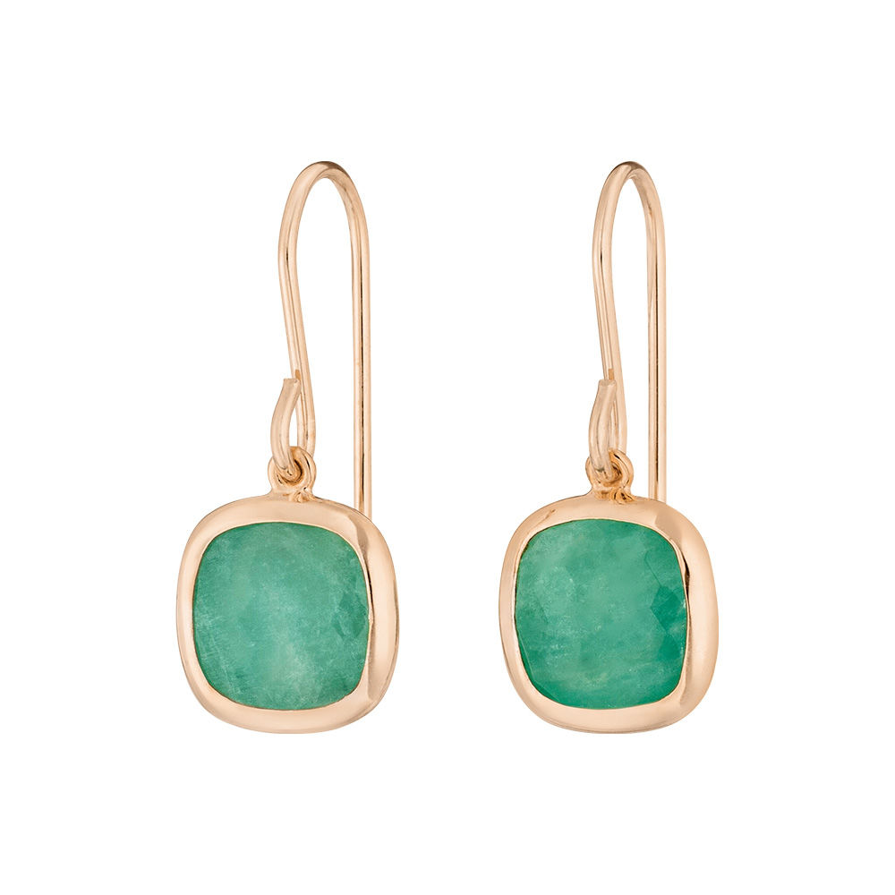 Ohrringe Square, Amazonite, 18 K Rosegold vergoldet