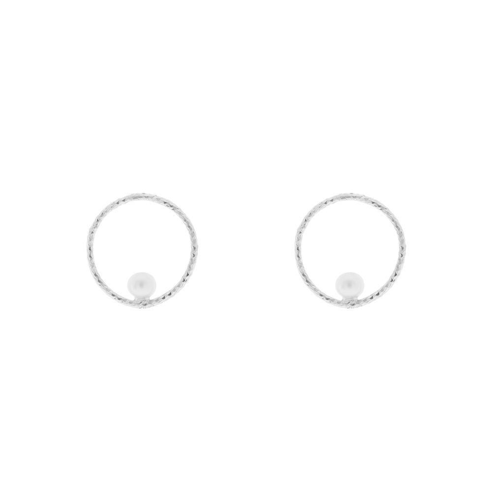 Ohrstecker Circle mit Perle, 925 Sterlingsilber