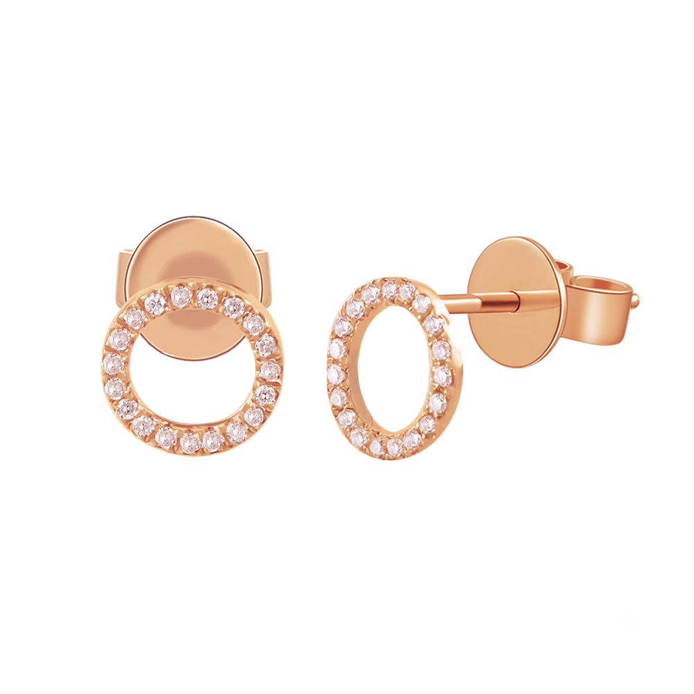 Ohrringe Circle mit Diamanten, 18 K  Rosegold