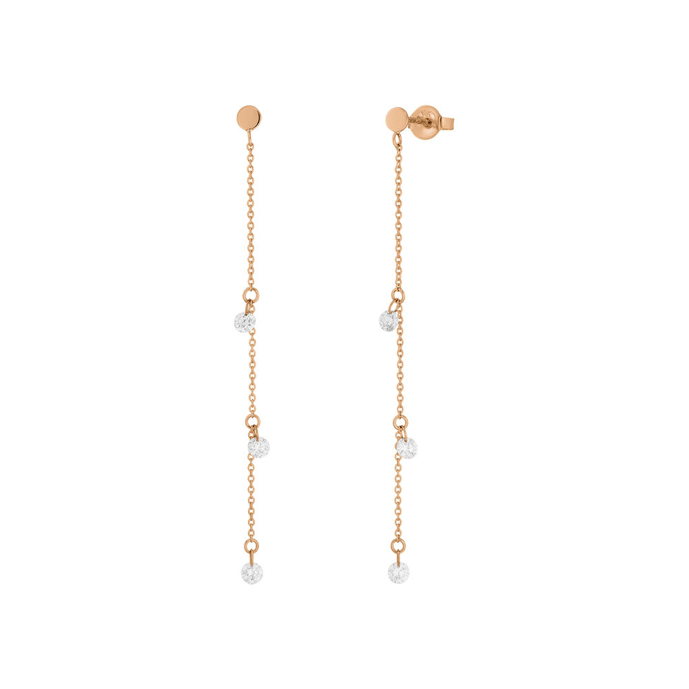Ohrringe Pure Chain mit Diamanten, 18 K Rosegold