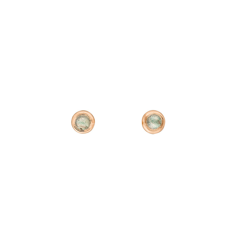 Ohrstecker Pure Labradorit, 3mm, 18 K Rosegold vergoldet