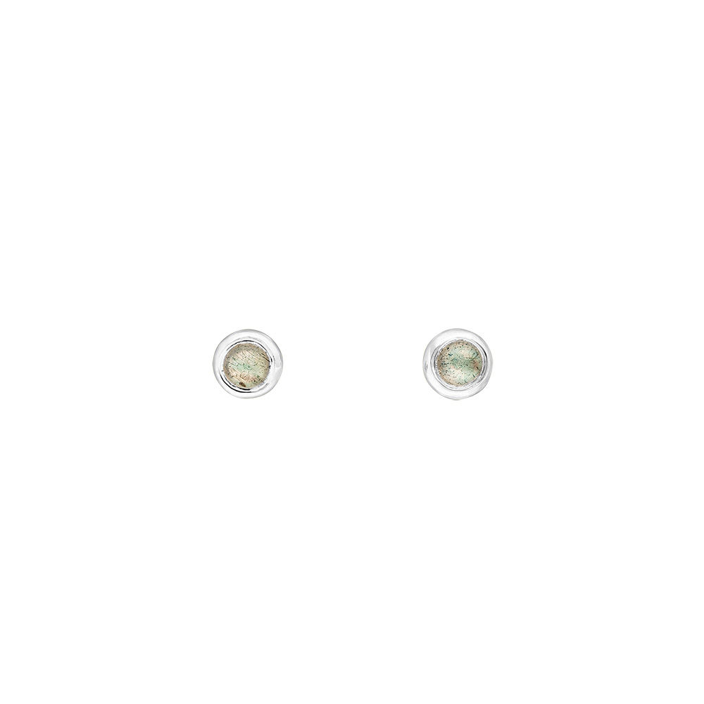 Ohrstecker Pure Labradorit, 3mm, 925 Sterlingsilber