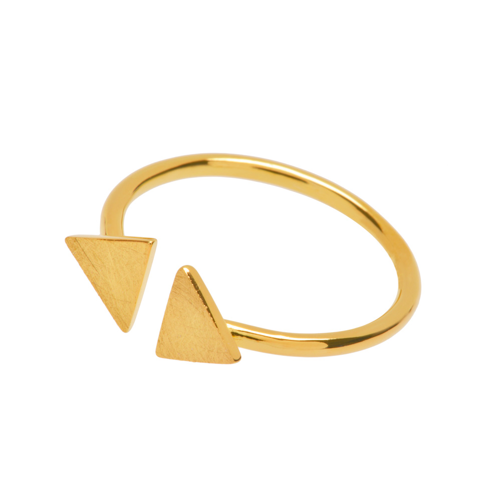 Open-Ring 2 Triangles, 18 K Gelbgold vergoldet
