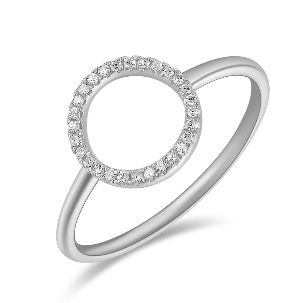 Ring Circle mit Diamanten, 18 K Weißgold