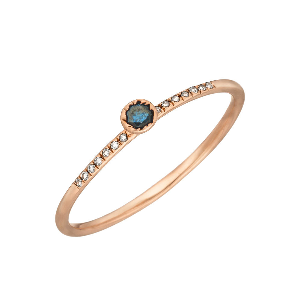 Ring Petite, Blue Diamond, 14 K Rosegold