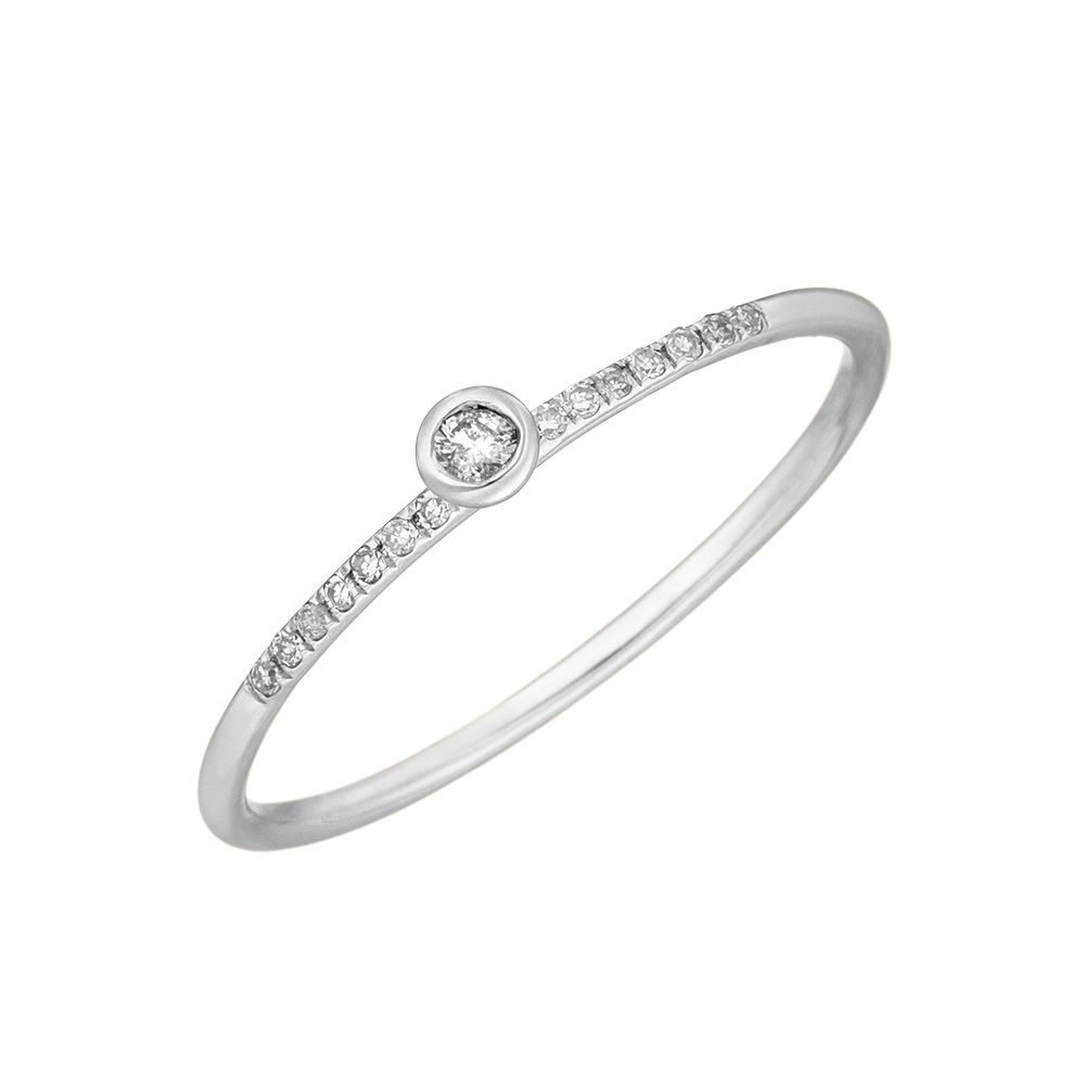 Ring Petite, White Diamond, 14 K Weißgold