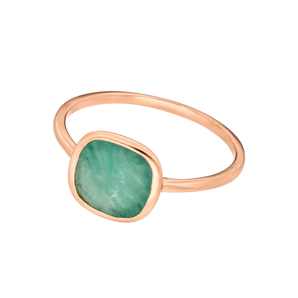 Ring Square, Amazonite, 18 K Rosegold vergoldet