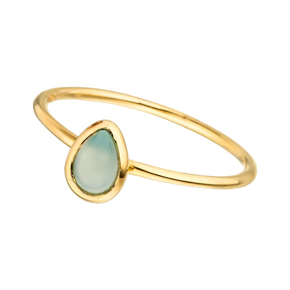 Ring Teardrop Single, Aqua Chalzedon, 18 K Gelbgold vergoldet