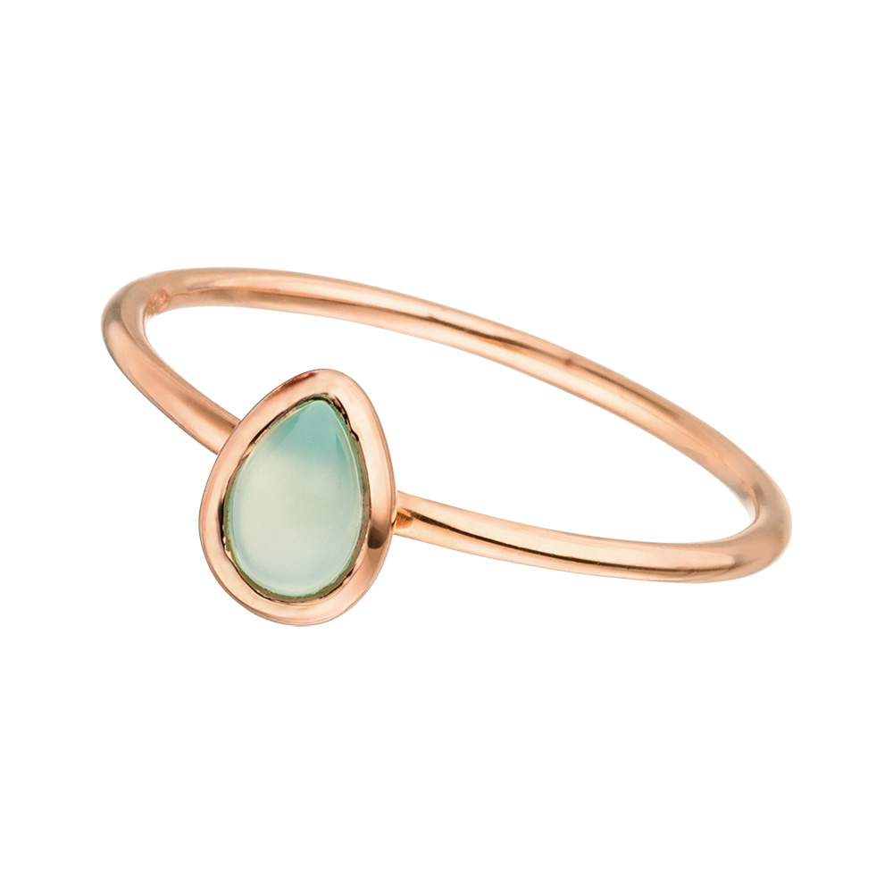 Ring Teardrop Single, Aqua Chalzedon, 18 K Roségold vergoldet