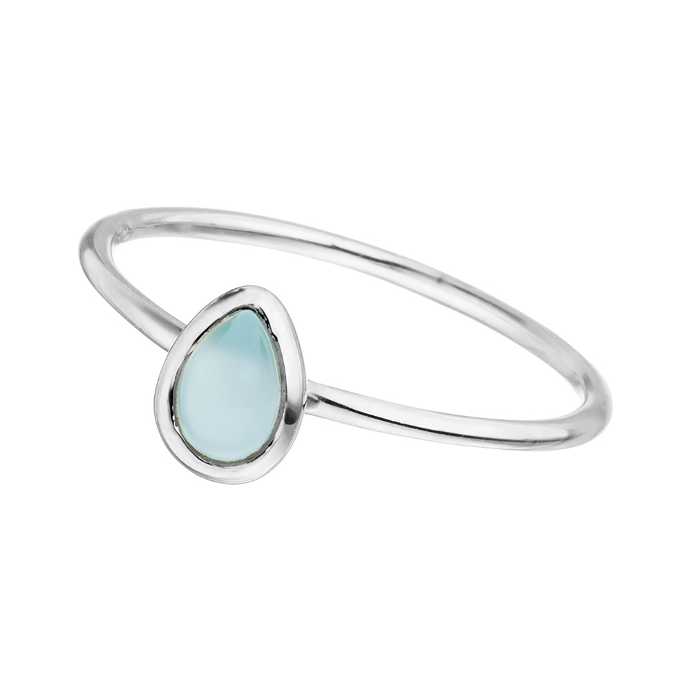 Ring Teardrop Single, Aqua Chalzedon, 925 Sterlingsilber