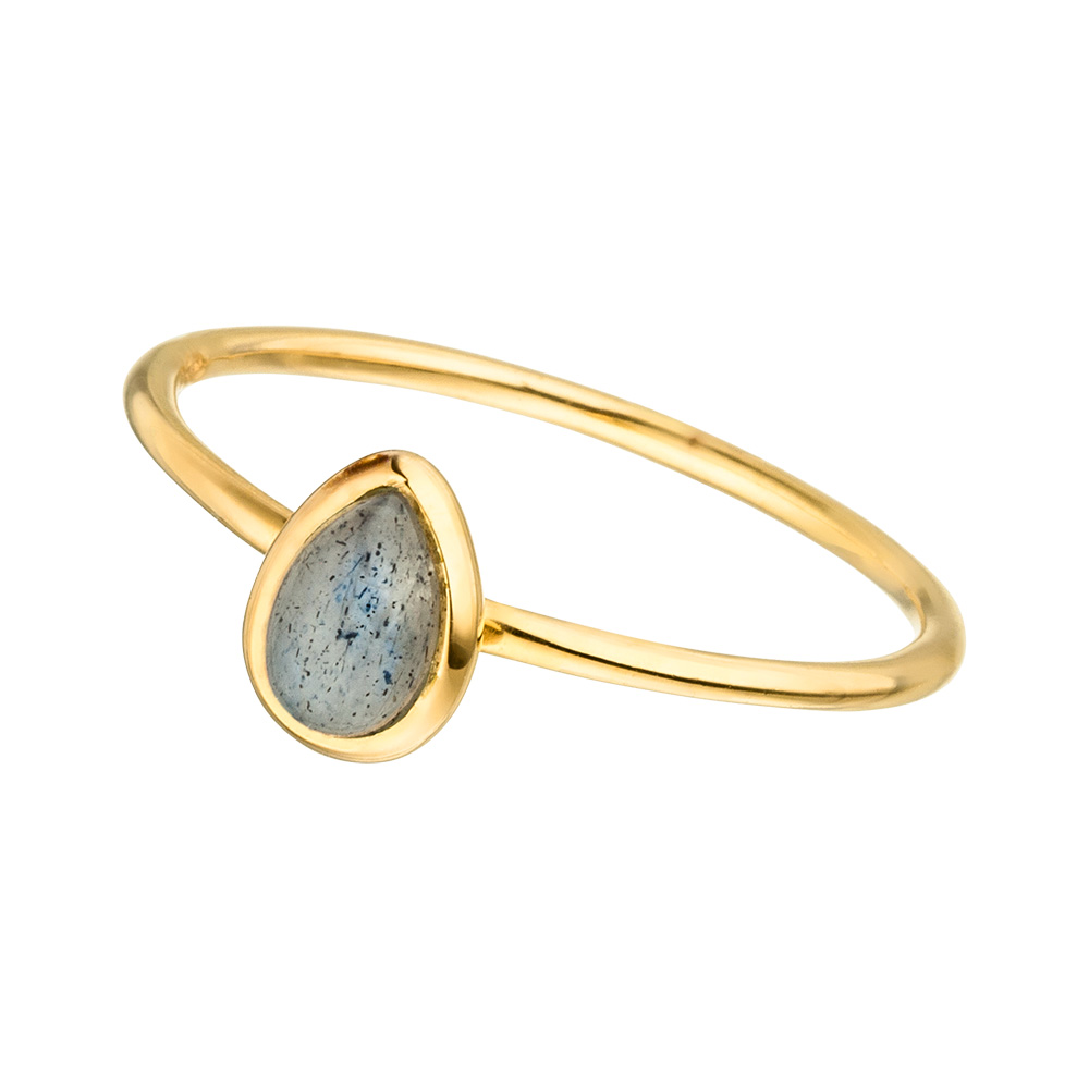 Ring Teardrop Single, Labradorit, 18 K Gelbgold vergoldet