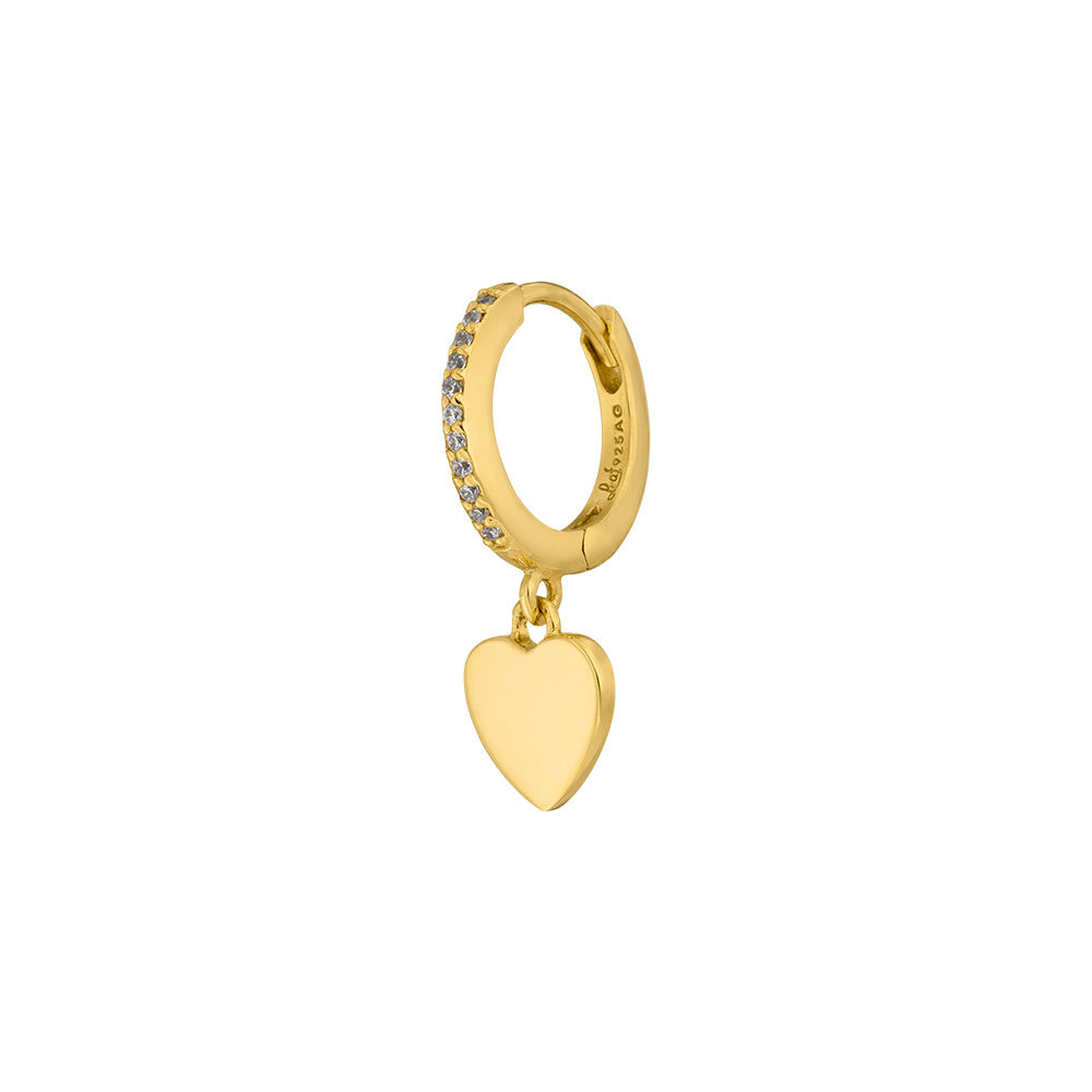 Single Creole HEART/Zirkonia, 18 K Gelbgold vergoldet