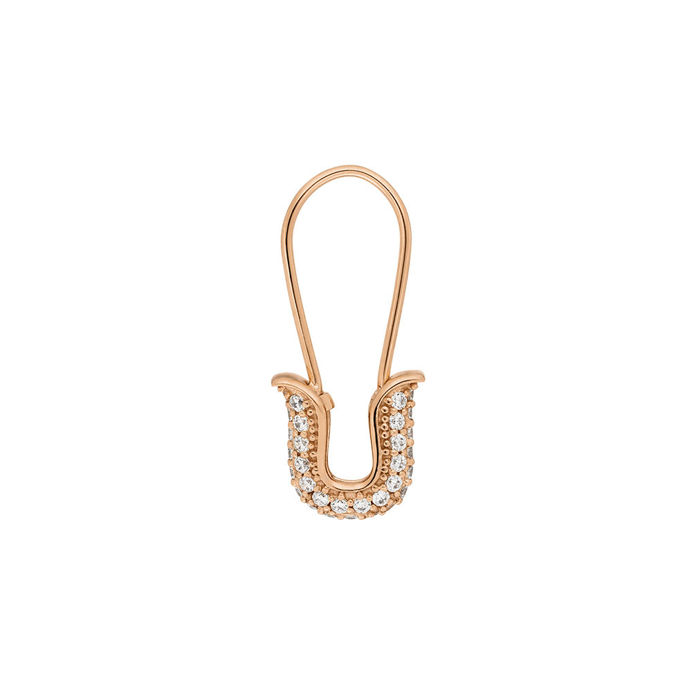 Single-Ohrhänger SAFETY PIN, 18 K Rosegold vergoldet