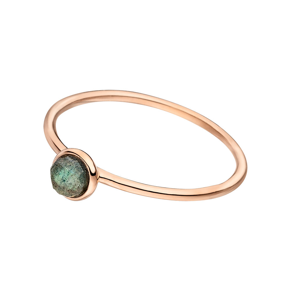 Stacking Ring, Labradorit, 4mm, 18 K Roségold vergoldet