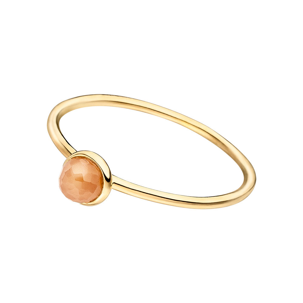 Stacking Ring, Peach Mondstein, 4mm, 18 K Gelbgold vergoldet