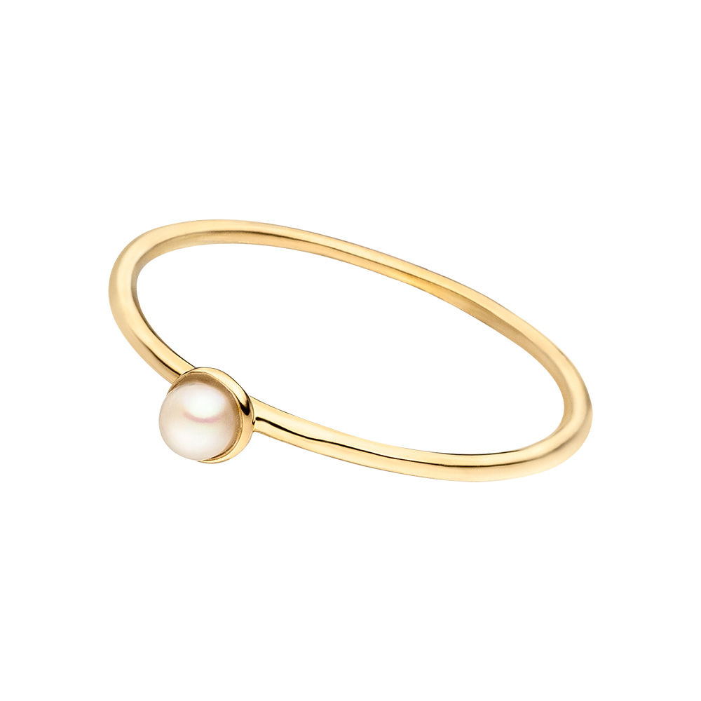 Stacking Ring, Perle, 3mm, 18 K Gelbgold vergoldet