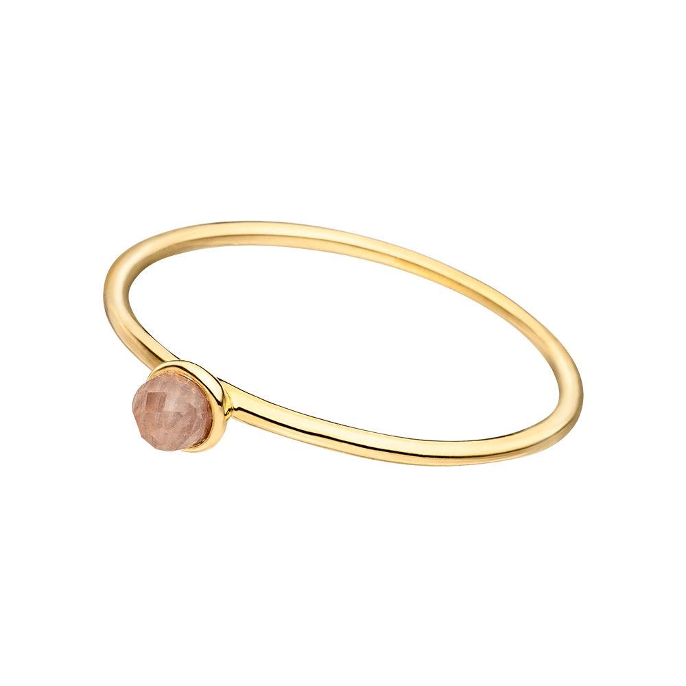 Stacking Ring, Rosenquarz, 3mm, 18 K Gelbgold vergoldet