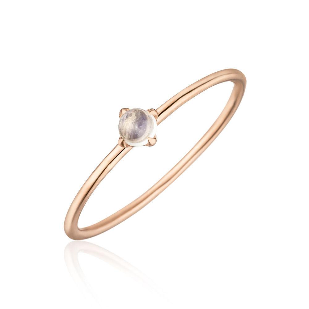 Verlobungsring Cabouchon 14 K Rosegold Mondstein Leaf Jewelry