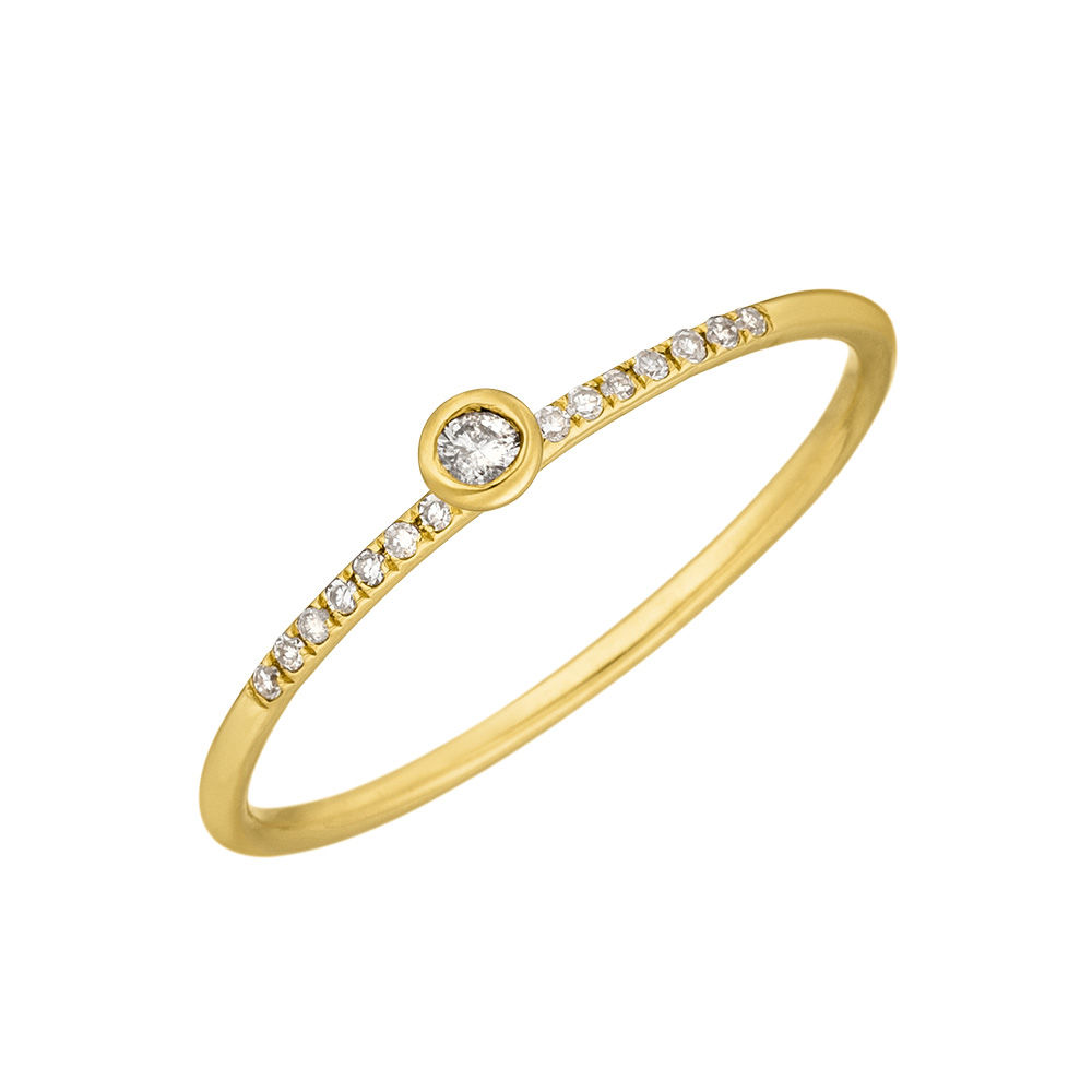 Ring Petite, White Diamond, 14 K Gelbgold Bild 2