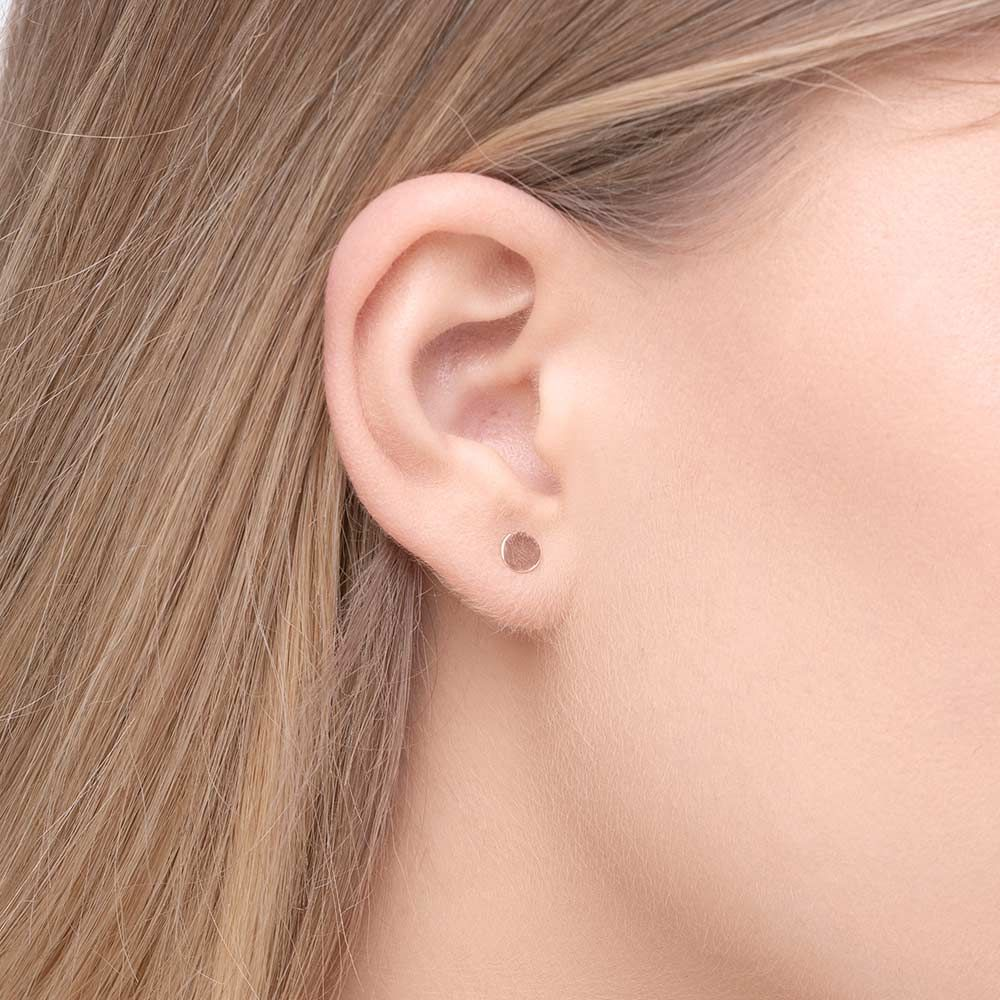 Ohrringe Disc 5 mm, 14 K Rosegold