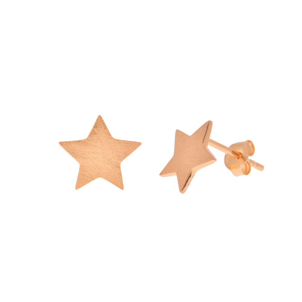 Ohrstecker Star-Disc, matt,  18 K Rosegold vergoldet