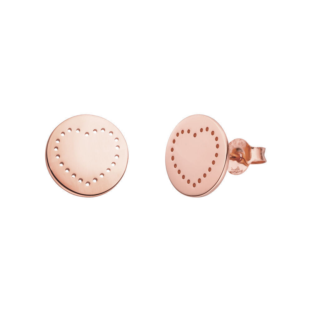 Ohrstecker Mini-Disc HEART, 18 K Roségold vergoldet