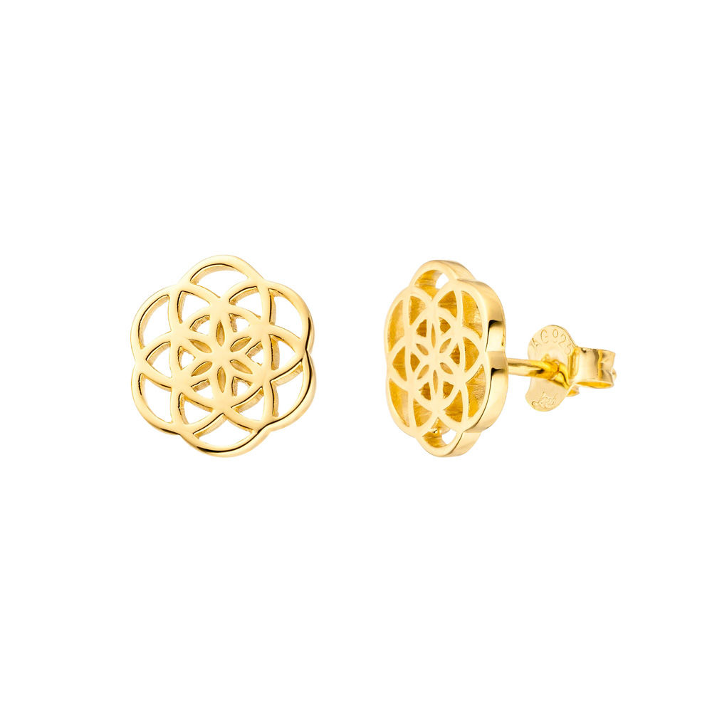 Ohrstecker Flower of Life, 18K Gelbgold vergoldet