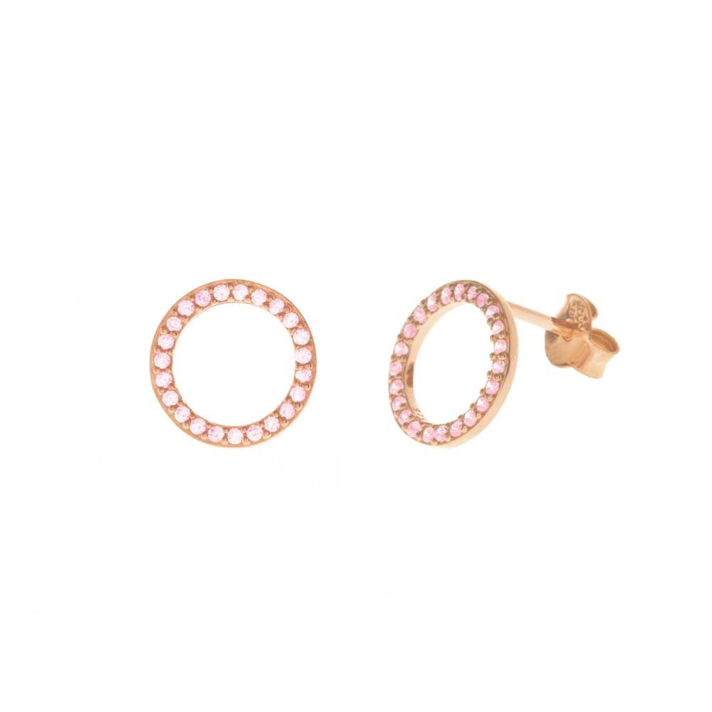 Ohrstecker Circle Of Life, 18 K Rosegold vergoldet, Rosa