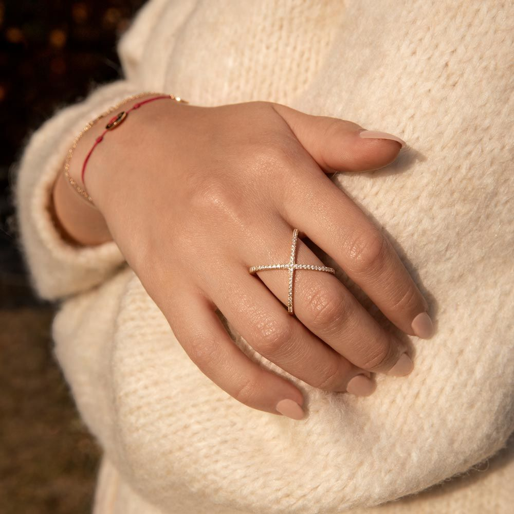 Ring X Criss-Cross, 18 K Rosegold vergoldet