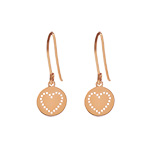Ohrringe Disc HEART, 18 K Rosegold vergoldet