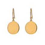 Ohrringe Disc Heart, 18 K Gelbgold vergoldet
