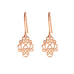 Ohrringe Heart Flower, 18 K Rosegold vergoldet