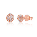 Ohrringe Pavé mit Diamanten, 18 K Rose Gold