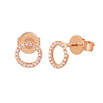 Ohrstecker Circle mit Diamanten, 18 K Rosegold