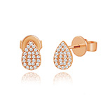 Ohrringe Drops mit Diamanten, 18 K Rose Gold