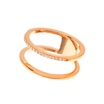 Ring Double Line, 18 K Rosegold vergoldet